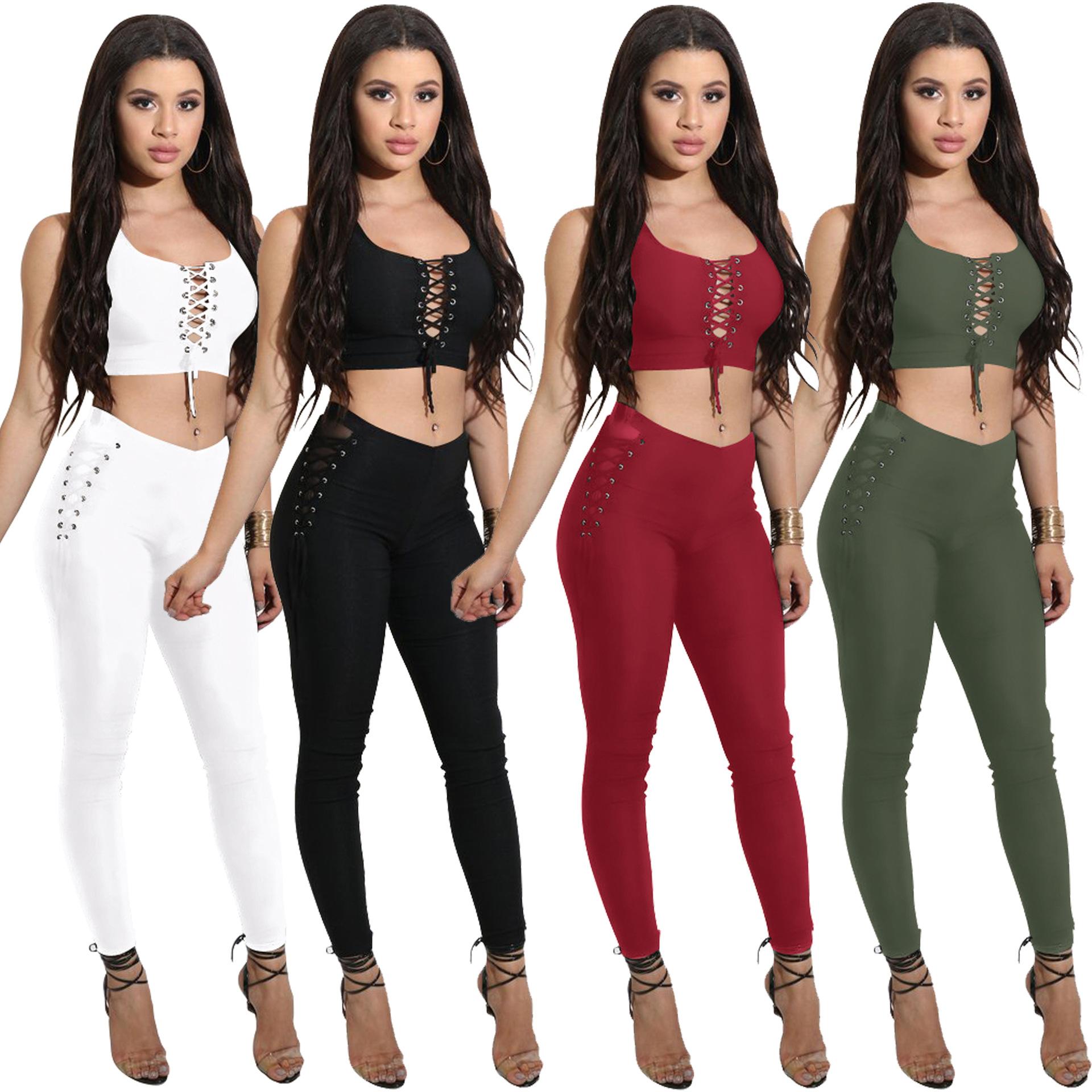 亚马逊ebay 速卖通wish热销新款 2017欧美性感两件系带套装连体裤