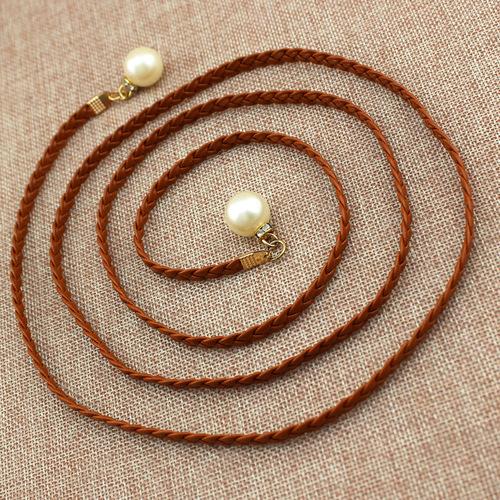 Ladies dress decorative pearl belt Knotted Waist Chain Dress Braided Waist Rope Women's Pearl Belt One Piece