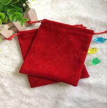 新款促销红色绒布袋  束口接绳绒布袋  尺寸LOGO都可自订