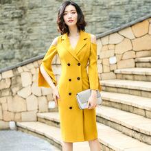 2017年秋季新款纯色露肩双排扣连衣裙 时尚喇叭袖修身铅笔裙批发