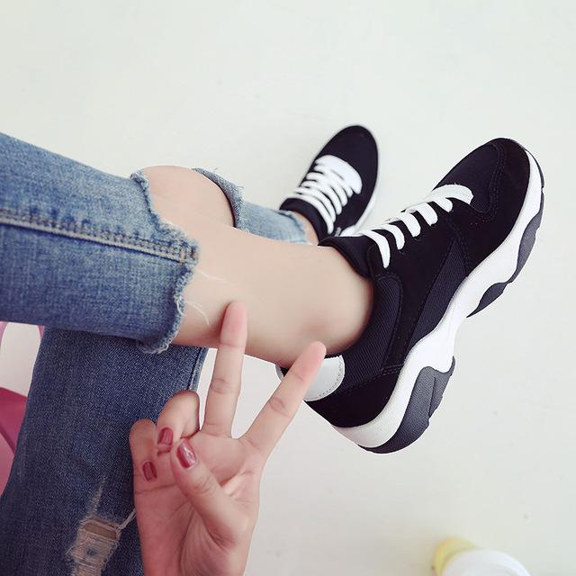 2019秋季新款拼色运动鞋休闲鞋女学生板鞋厚底松糕鞋阿甘旅游单鞋