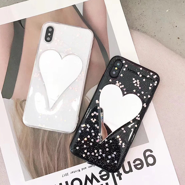 iphoneX mobile phone shell love mirror flash powder love apple 8/7plus silicone all-inclusive fall protection sleeve female