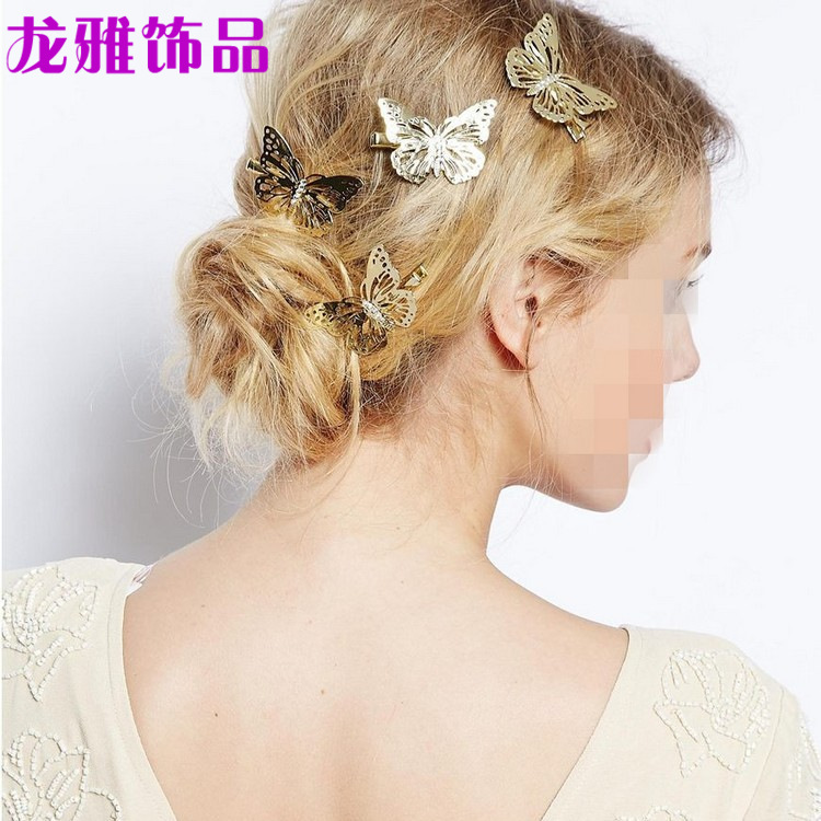 European and American jewelry manufacturers wholesale small amount mixed batch of Korean version female butterfly left and right hairpin and clip headgear