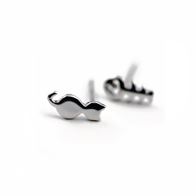 Simple Cute Kitty Ear Studs Alloy Plating Gold Silver Animal Kitten Fish Stud Ear Studs Wholesale NHCU197227