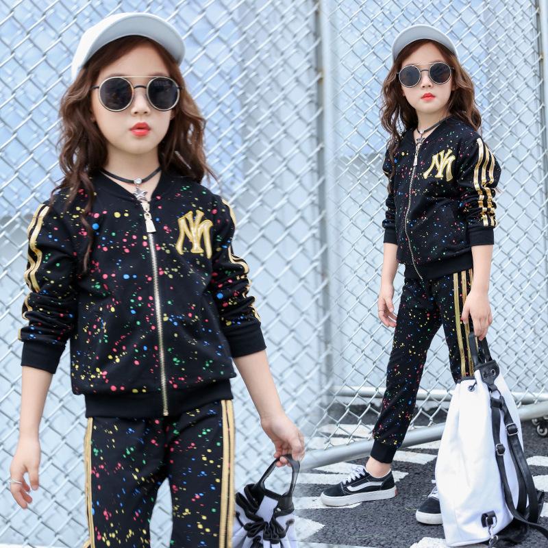 女童2020迷彩批印春秋款韩版儿童套装潮中大童长袖运动两件批发