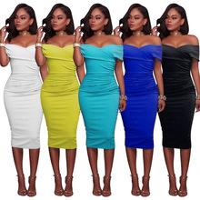 速卖通wish亚马逊ebay欧美标准码 一字领抹胸包臀性感连衣裙