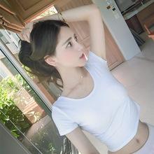 批發露臍短袖t恤女夏緊身純色上衣韓版漏肚臍高腰短款打底衫體恤