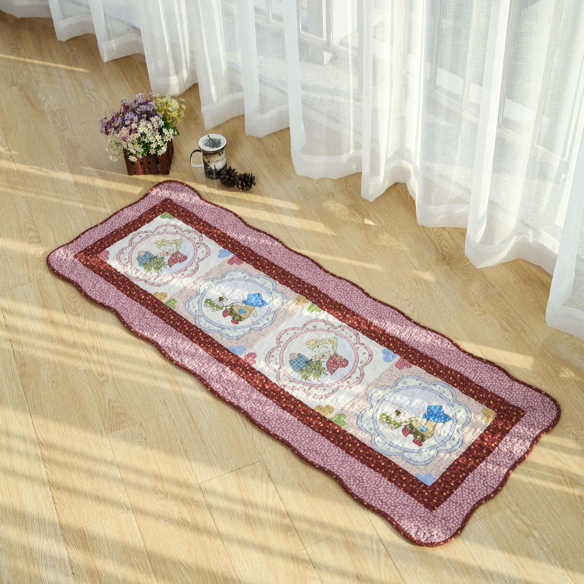 厂家批发全棉绗缝布艺美式田园风客厅卧室 家居地毯垫门前垫