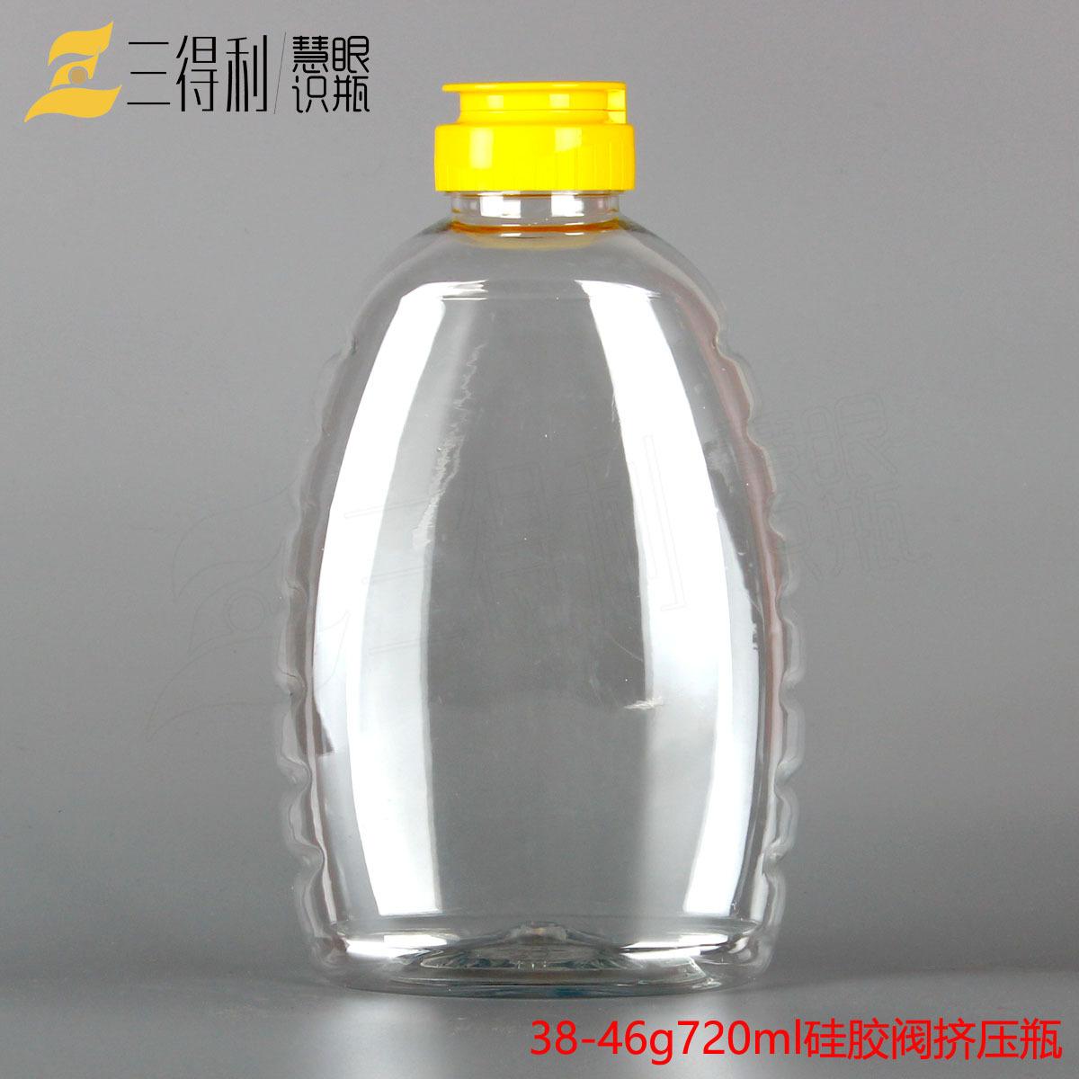 批发食品级1000g蜂蜜塑料瓶 美国硅胶阀盖挤压瓶 透明塑料包装瓶