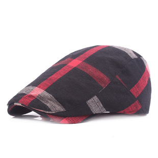 Hat wholesale men and women plaid cloth beret simple retro sun hat travel forward hat ladies hat