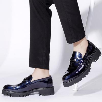 温州春季新款男士商务皮鞋坡跟透气布洛克雕花男鞋尖头休闲鞋