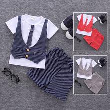 夏季童装条纹新款  童装韩版马甲T恤 男童两件套 短袖短裤套装