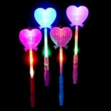 LED变频发光镂空爱心形魔法棒桃?#33041;?#22411;闪光棒节假日玩具夜市地摊