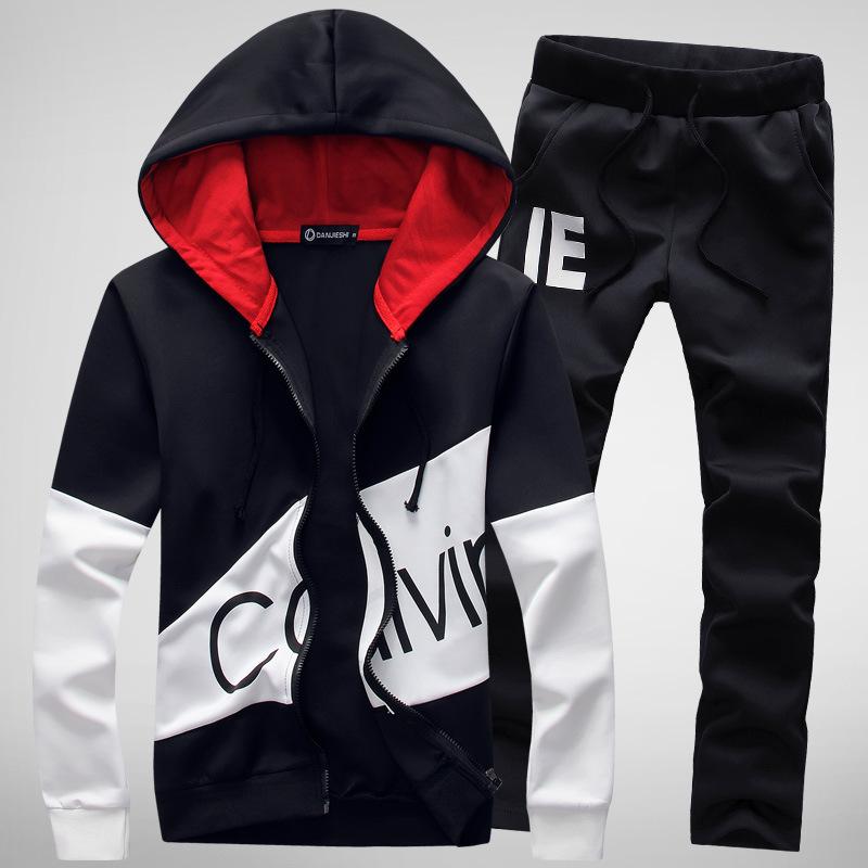 Men's spring new cardigan hooded sweater set men's Korean slim letter modified sports suit