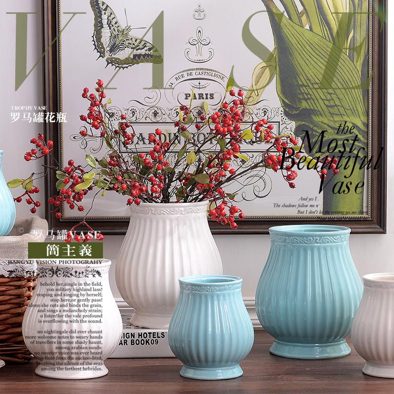 包邮欧式复古怀旧陶瓷花瓶三件套白蓝色陶瓷家居装饰摆件可储水