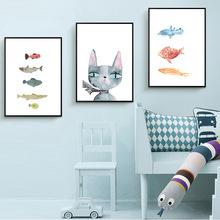 卡通動物裝飾畫 兒童房間掛畫 可愛卡通簡框裝飾畫 新品上市