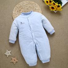 厂家直销婴儿新款羽绒棉连体衣新生儿宝宝纯棉加厚连体衣爬服代发