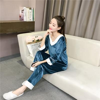 2018秋冬季新款韩版甜美睡衣女拼色可外穿金丝绒家居服两件套女装