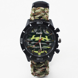 Wilderness survival outdoor camping 6 in 1 compass multi-function umbrella rope watch bracelet camping mountaineering watch