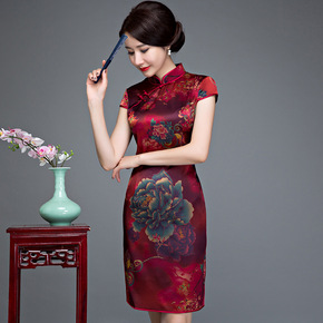 Yisidu new summer silk Qipao temperament mother dress mulberry silk short sleeve slim retro flag