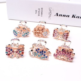 Korean hairpin diamond hair accessories crystal small catch clip peacock butterfly shape variety mixed batch headwear D09