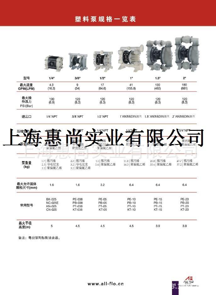 上海惠尚  美国All-Flo气动隔膜泵3