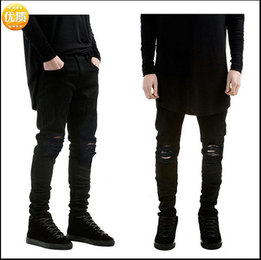 European And American High Street Fashion Brand Pure Black Slim Feet Elastic Jeans