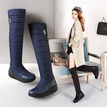 欧美时尚风格羽绒过膝女靴保暖绒里防滑橡胶底圆头搭扣坡跟雪地靴