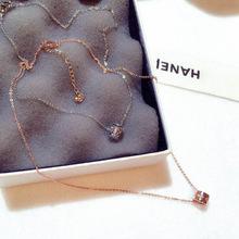 新款時尚韓國歐美超閃鑲水鑽圓形吊墜氣質百搭鎖骨鏈短項鏈N00334
