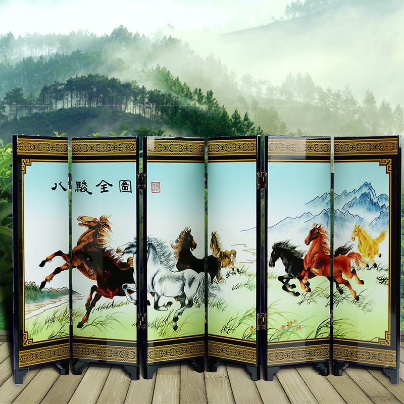 中国风古典特色仿古漆器六面小屏风 出国送礼 商务礼品