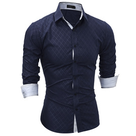 Spring new classic lined dark rhombic male casual long sleeve shirt 5206
