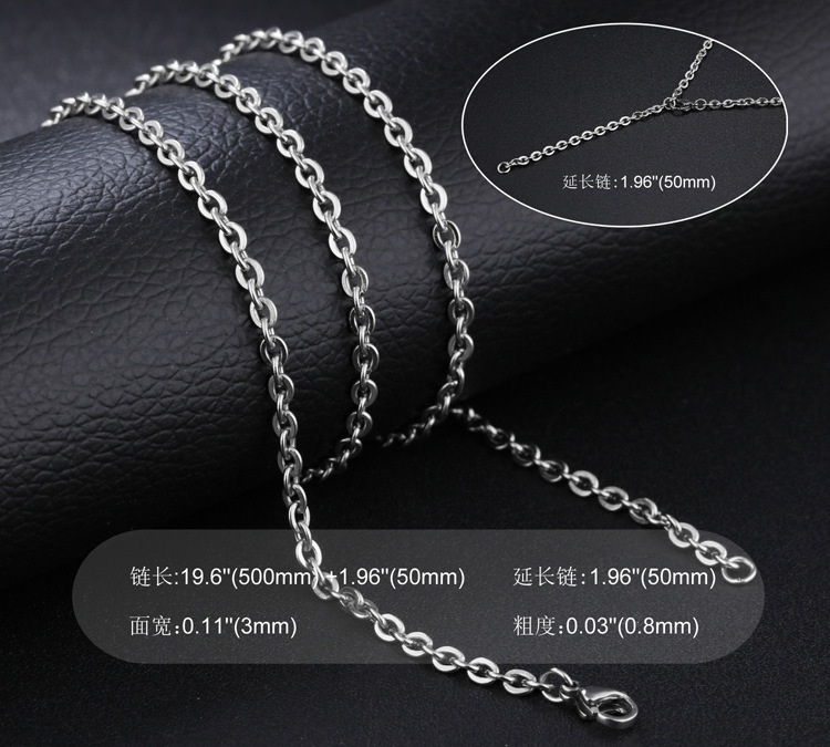 simple love puzzle chain titanium steel necklace NHOP313472