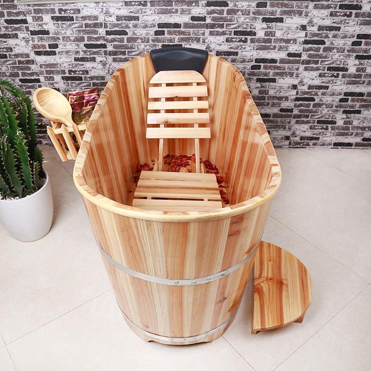 成人泡澡木桶沐浴药浴桶实木泡浴桶成人浴缸桑拿熏蒸桶木质泡澡桶