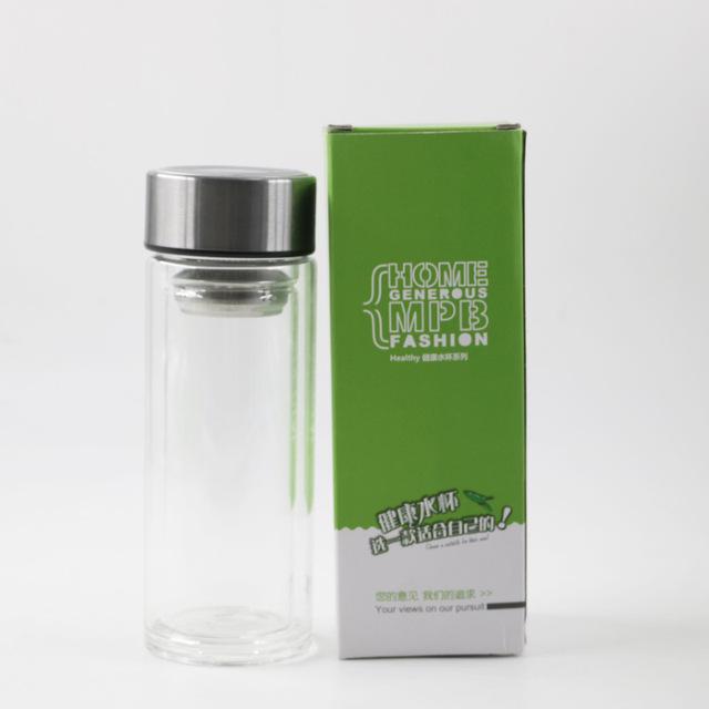2018双层透明玻璃水杯高硼硅耐热玻璃杯加厚杯底厂家批发定制logo