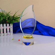 创意新款K9水晶立体奖杯订做 20CM树叶形状奖牌免费?#22871;?闪电发货