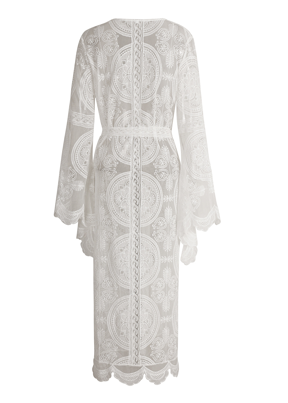 Vacation style lace cardigan long dress NHDF121878