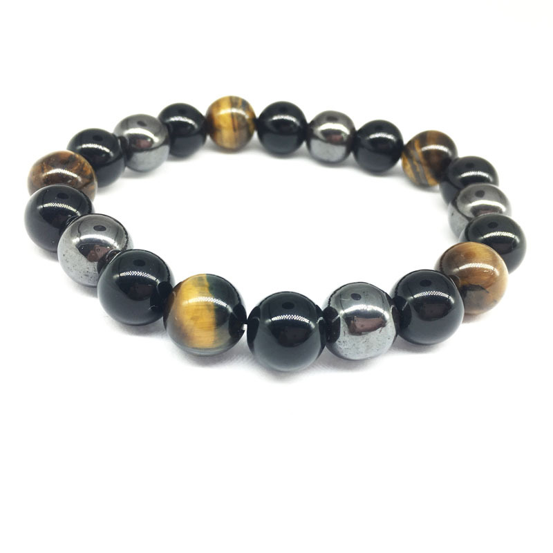 Aliexpress Wish Ebay Explosion Models Magnetic Stone Tiger Stone Obsidian 10mm Tricolor Stone Bracelet Batch