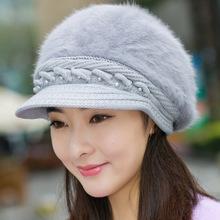 新款女士兔毛帽子秋冬季保暖针织帽 韩版时尚毛线帽冬天潮帽批发