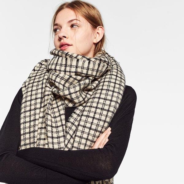 秋冬新款欧美Za家小格子仿羊绒围巾 Z家专柜同款加厚保暖羊绒披肩
