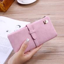 淘宝热卖韩版女士中长款钱包 时尚磨砂面三折钱夹 手拿包钱夹卡包