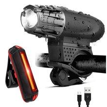 新款2256自行车灯 USB充电前灯 尾灯 山地车警示灯300流明前灯