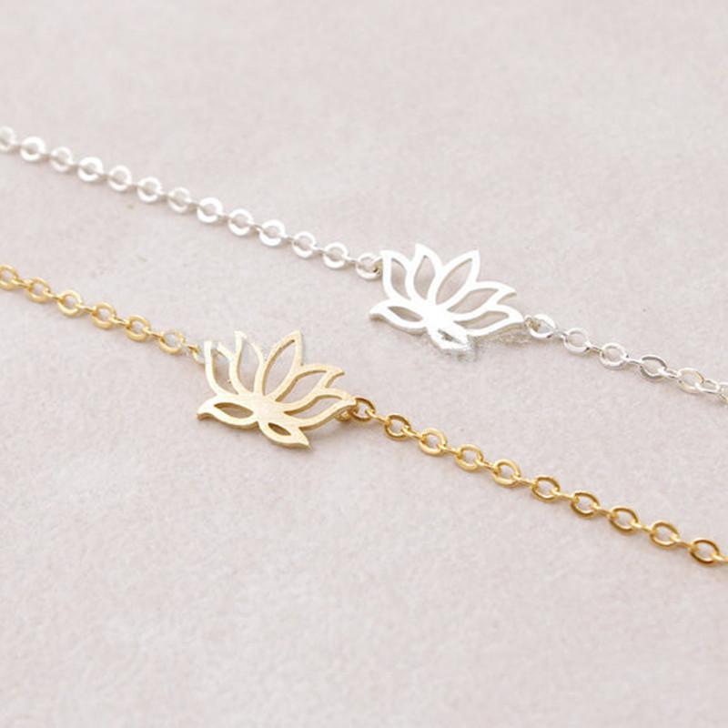 Elegant Lotus Bracelet Alloy Plating Lotus Flower Pendant Bracelet Anklet Wholesale NHCU206474