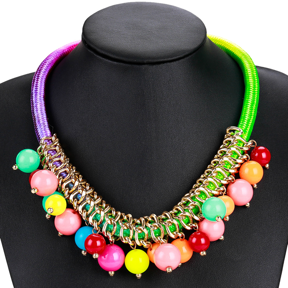 Exotic alloy plating necklace (color)NHJE0461-color