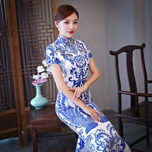 Blue and white porcelain cheongsam long cheongsam etiquette cheongsam skirt Chinese Dress Qipao for women