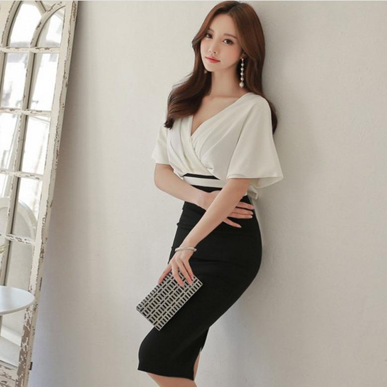 跨境连衣裙2020新款韩版修身V领包臀显瘦时尚女装一步裙一件代发