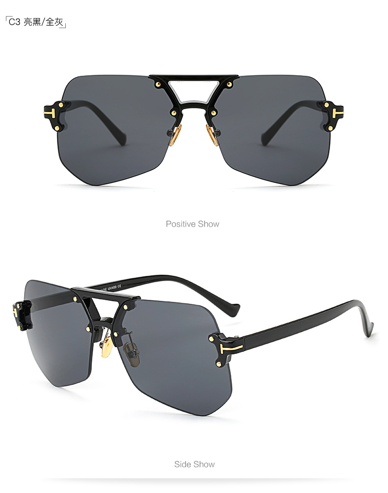 Fashion unisex frameless irregular sunglasses multicolor NHFY131226
