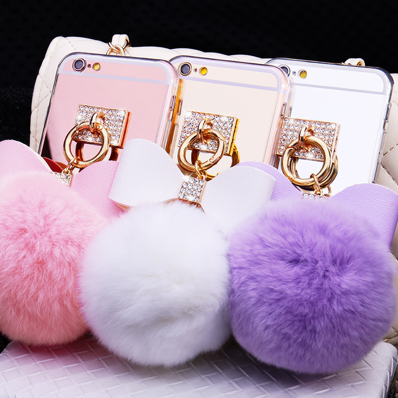 S10lite Apple 8plus mirror luxury diamond bow hair ball NOTE9 mobile phone case for iphoneX