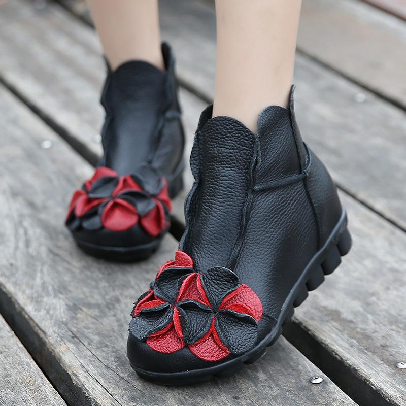 秋冬民族风短靴女平底休闲真皮女靴纯手工软底舒适女鞋潮一件代发