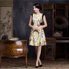 厂家销售新款连衣裙聚酯纤维舒适修身旗袍连衣裙
