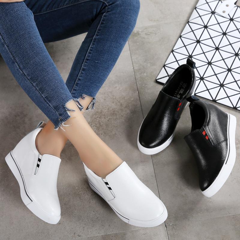 2020春秋季真皮小白鞋单鞋女内增高乐福鞋平底防滑学生鞋懒人鞋